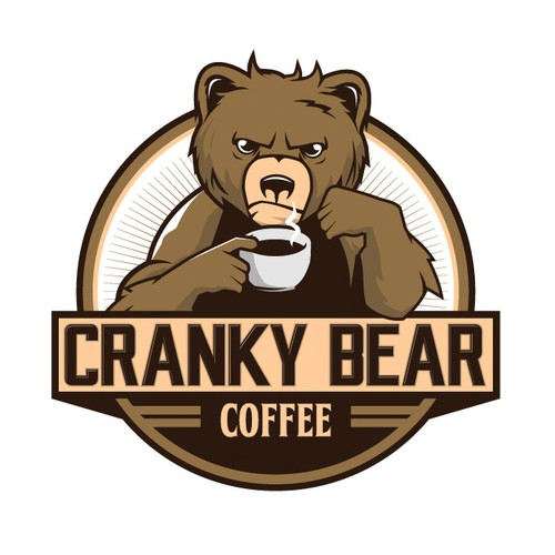 Bear face logo with the title 'A Messy Haired Bear Waking Up Drinking Coffee'