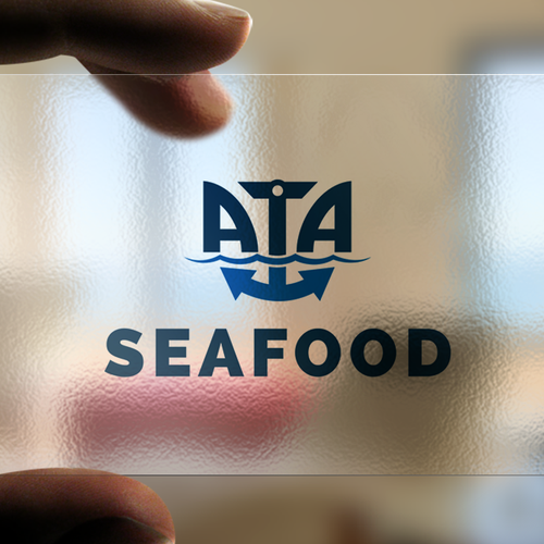 Marine logo with the title 'Logo for ATA sea food'