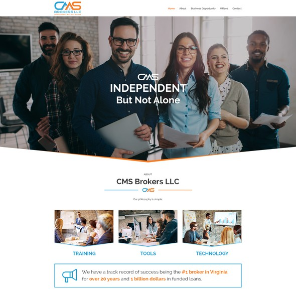 Mortgage website with the title 'Design a Stunning Website for New Business'