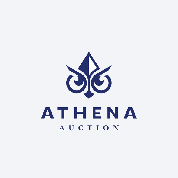 Athena design with the title 'owl + spear'