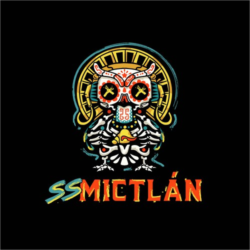 Sugar skull design with the title 'Urban street land of death owl'
