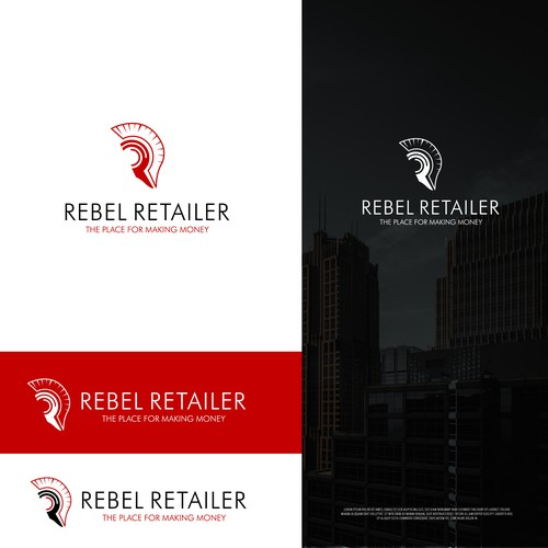 Spartan helmet logo with the title 'Winning Design for Rebel Retailer'