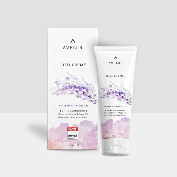 Natural cosmetics packaging with the title 'Avenir Deo Creme design'