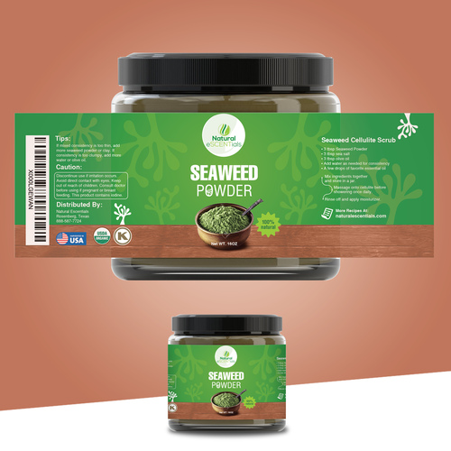 Industrial label with the title 'Seaweed Powder Package Design'