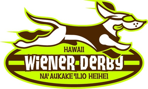 Longboard logo with the title 'Create a cute & hip logo for Hawaii Wiener Derby'
