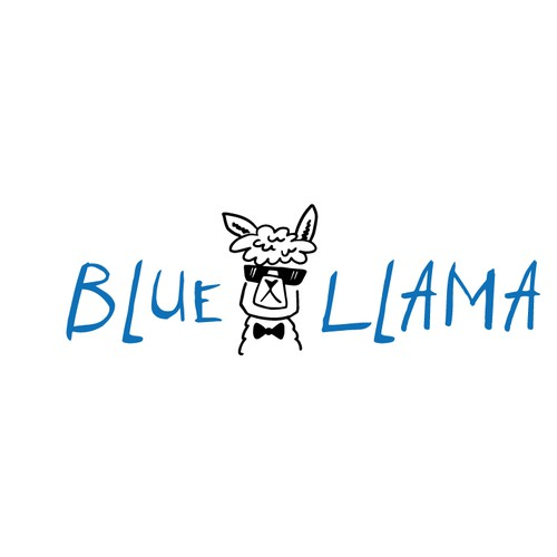 Handmade logo with the title 'Hand-drawn Llama Logo'