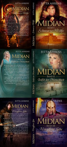 Romance book cover with the title 'Book cover for a historical novel trilogy from the ancient Babylon, Israel and Greece.'