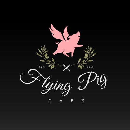 Upscale logo with the title 'Whimsical and upscale logo for Flying Pig Cafe'