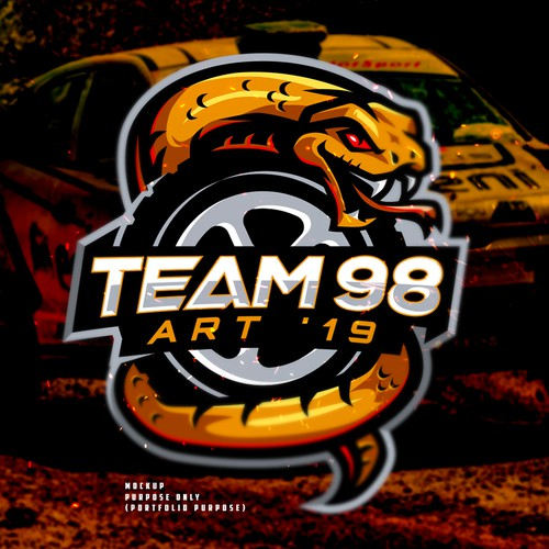 Yellow logo with the title 'Team 98 Car Rally Logo'