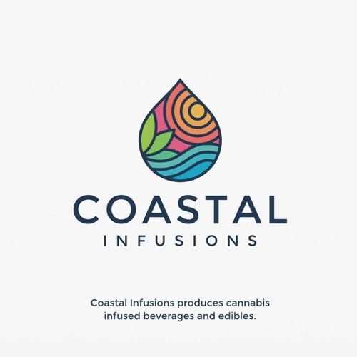 Beverage design with the title 'Line-work with a fun colorfull twist for a cannabis infused beverage co-packer'