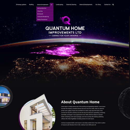 Galaxy design with the title 'Quantum Home Improvements Ltd - Website Design'
