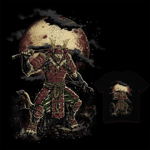 Lion artwork with the title 'Lion Samurai'