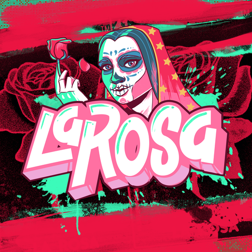 "Rose artwork with the title 'Graffitti style illustration ""La Rosa""'"