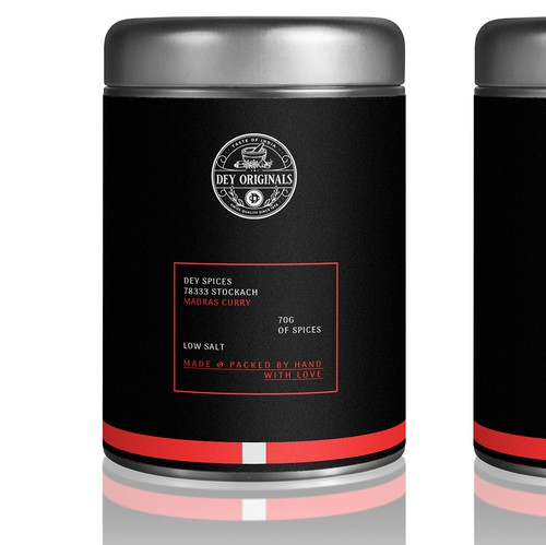 Canister design with the title 'Spices package design'