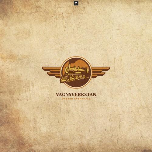 Fairy wing logo with the title 'Illustrative locomotive logo'