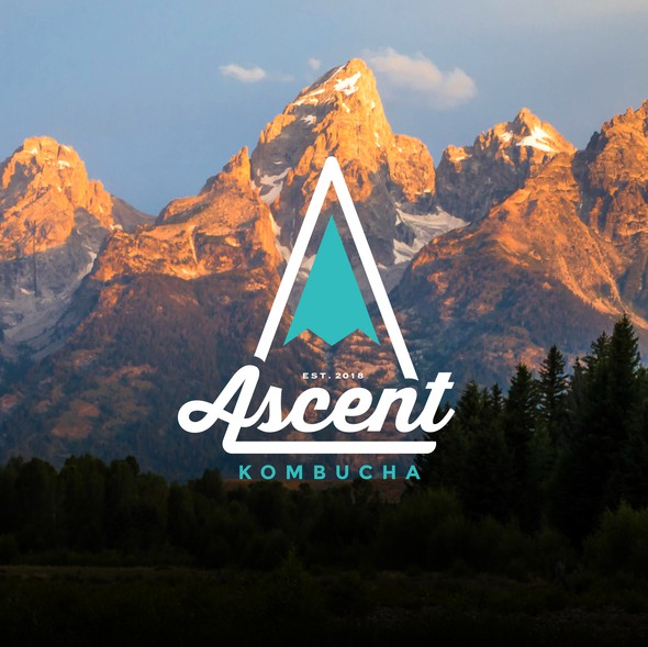 Beverage logo with the title 'Logo for Ascent Kombucha brewery. Check them out: www.ascentkombucha.com'