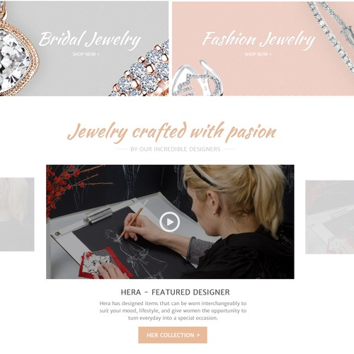 Elegant website with the title 'Elegant design for a jewelry store'