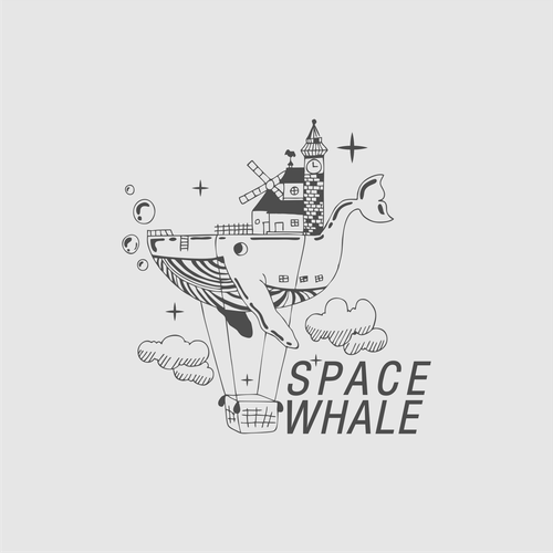 Whale design with the title 'Logo for game company Spacewhale'