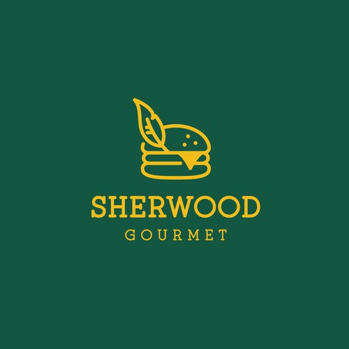 Feather logo with the title 'Creative logo for Sherwood Gourmet'