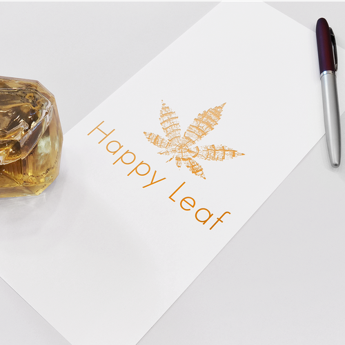 Gold tree logo with the title 'Branding concept for Happy Leaf'