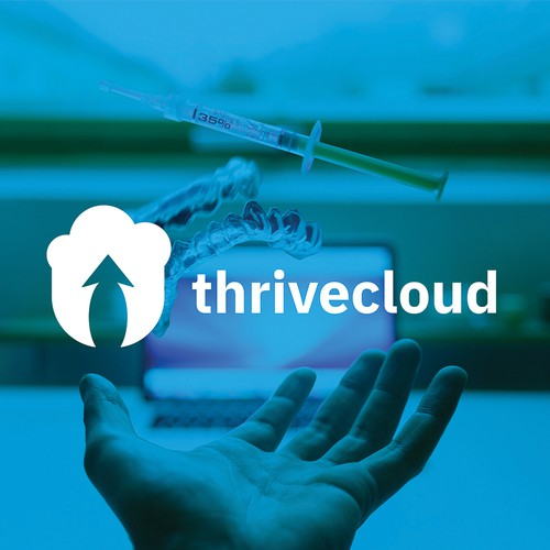 Cloud computing logo with the title 'thrivecloud - Dental Cloud Based Software Tech Startup'