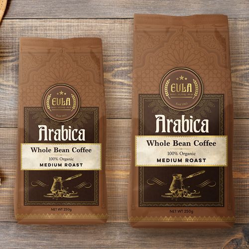 Bag packaging with the title 'Turkish Coffee, pouch design'