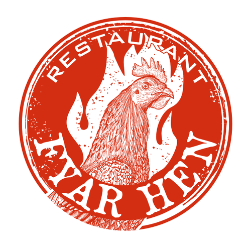 Rooster logo with the title 'fyar hen'