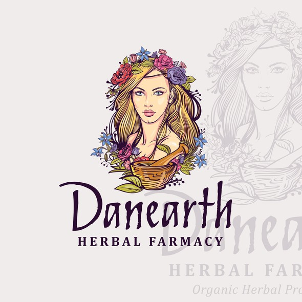 Natural product logo with the title 'Danearth Herbal Farmacy'
