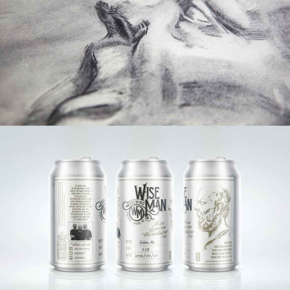 Carbon design with the title 'Beer label for Wise Man Brewing'