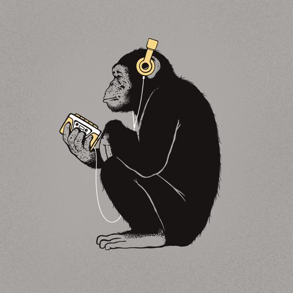 Monkey t-shirt with the title 'Chimpanzee'