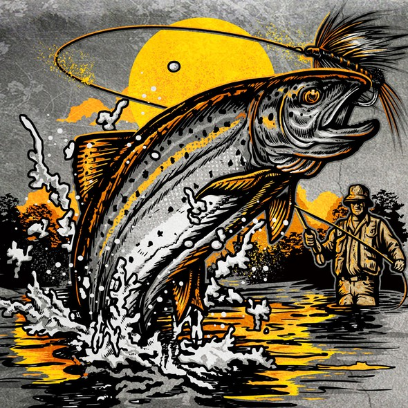 Sunset t-shirt with the title 'Trout fishing'