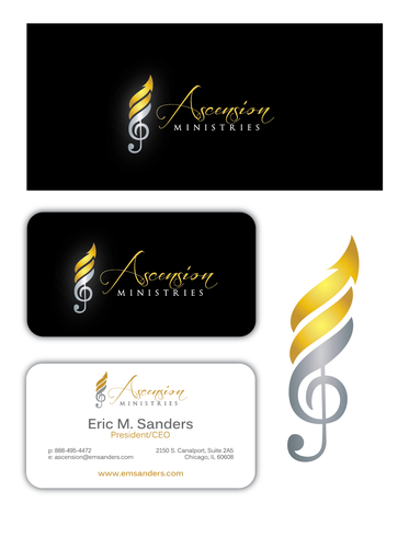 Abstract arrow logo with the title 'Design a Logo & Business Card for Ascension Ministries'