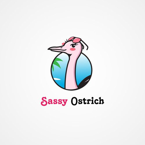 Flirty logo with the title 'Sassy Ostrich's logo'