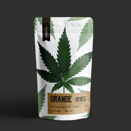Eco label with the title 'cannabis pouch design'
