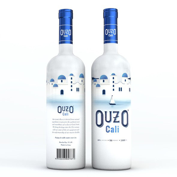 Greek design with the title 'Ouzo Cali'