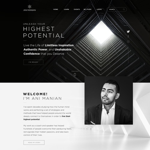 Interface design with the title 'Design a life coach home page'
