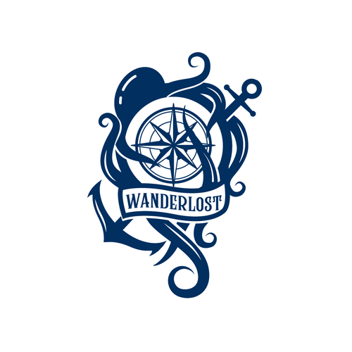 Compass rose design with the title 'WanderLost'