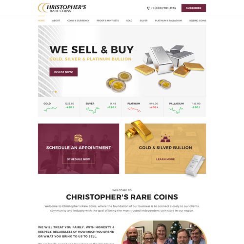 Retail website with the title 'Christopher's Rare Coins'
