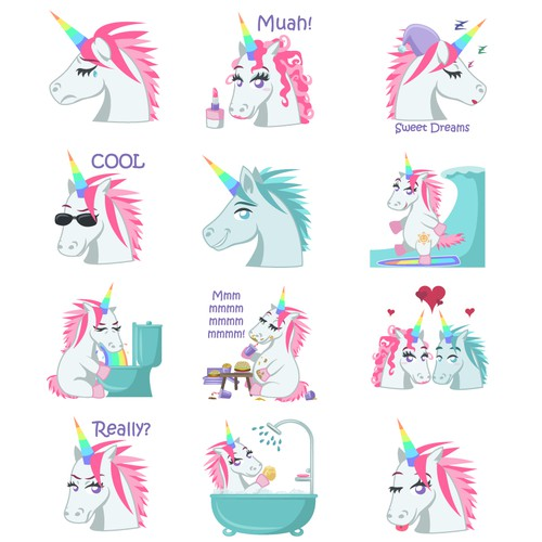 Unicorn artwork with the title 'Unicorn stickers'