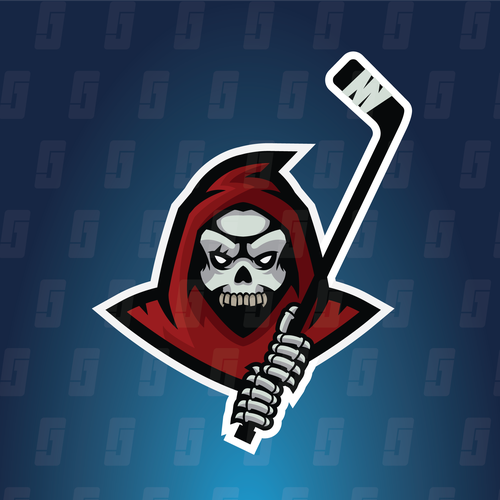 Hockey stick logo with the title 'Grim Hockey - Grim Reaper Mascot'