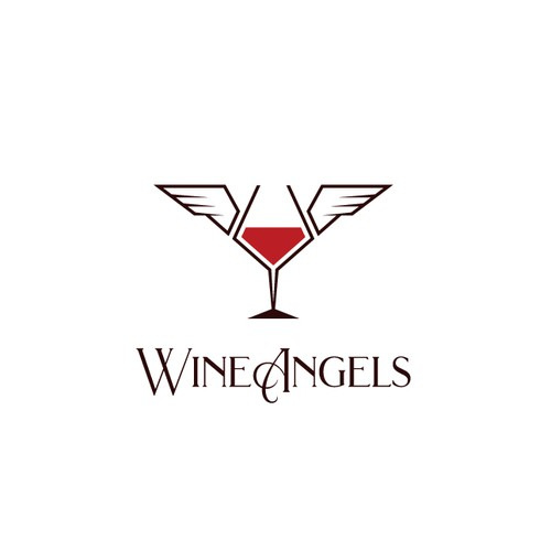 Angel wing design with the title 'Wine Angels'