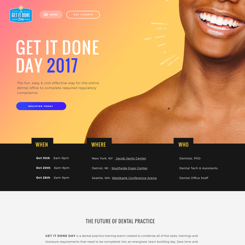 Conference design with the title 'Get It Done Day - Dental Event'