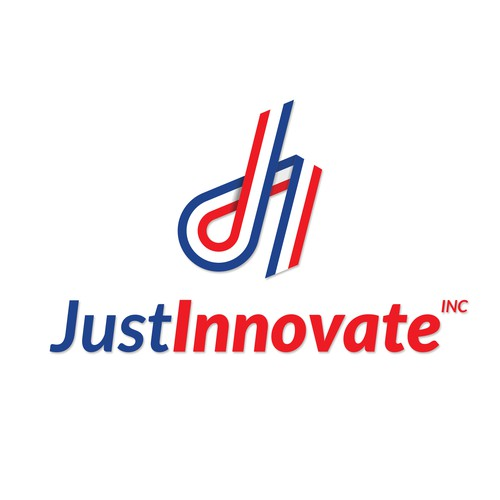 Blue and red logo with the title 'Logo Concept for Just Innovate'