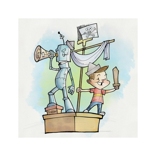 Comics illustration with the title 'Ink and watercolor illustration of a boy and his Robot Pal'