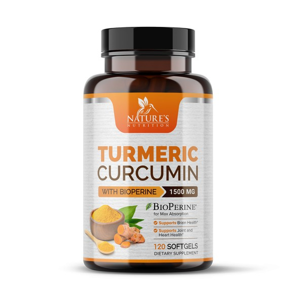 Ginger label with the title 'Turmeric Curcumin Dietary Supplement Label Design'