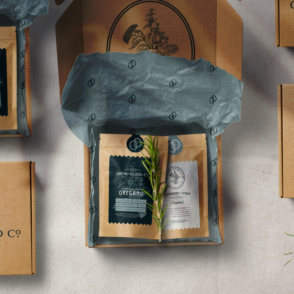 Botanical design with the title 'Grow Good Co Packaging'