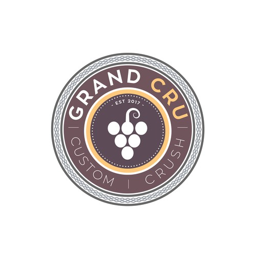Wine logo with the title 'Grand Cru | Custom Crush'