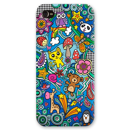 Doodle design with the title '[Round 4] Create Galaxy 4/5 & iPhone 5s case designs! Guaranteed / Blind'