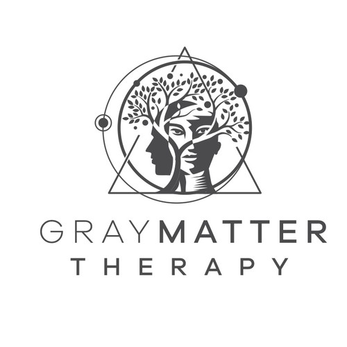 Mental health logo with the title 'Gray Matter Therapy Logo'