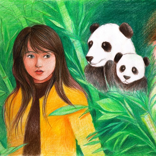 Panda artwork with the title 'Design the artwork for a children's book in the US'